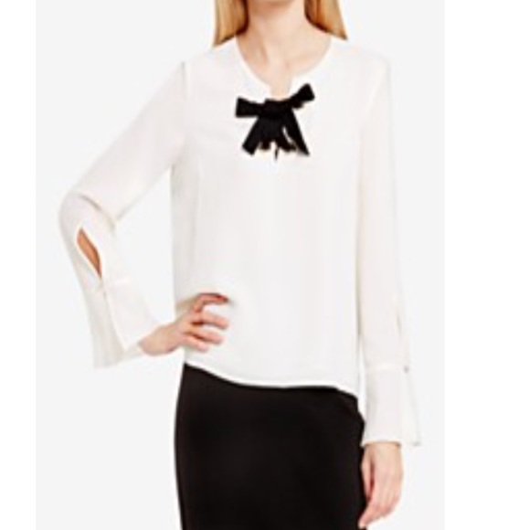 f4583a2c13f1f NWT Vince Camuto Tie Up Long Sleeve Blouse SZ L